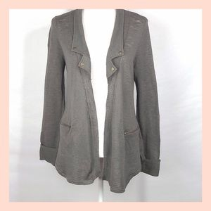 SILENCE+NOISE Gray burnout open front cardigan